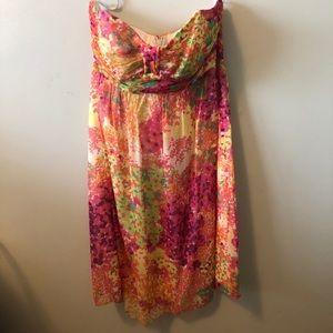 Floral strapless Shoshanna dress